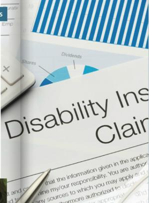 Collage of images including partial pie chart, disability claim and calculator